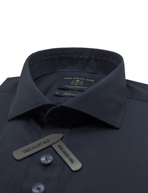 Solid Navy Wrinkle Free Double Button Design 2 Ply Slim / Tailored Fit Long Sleeve Shirt – TF42Q2.11