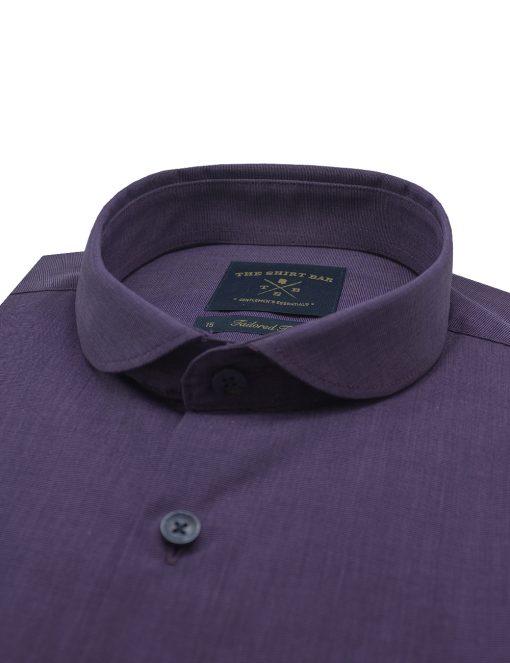 Solid Purple Wrinkle Free Club Collar Slim / Tailored Fit Long Sleeve Shirt – TF12B6.11