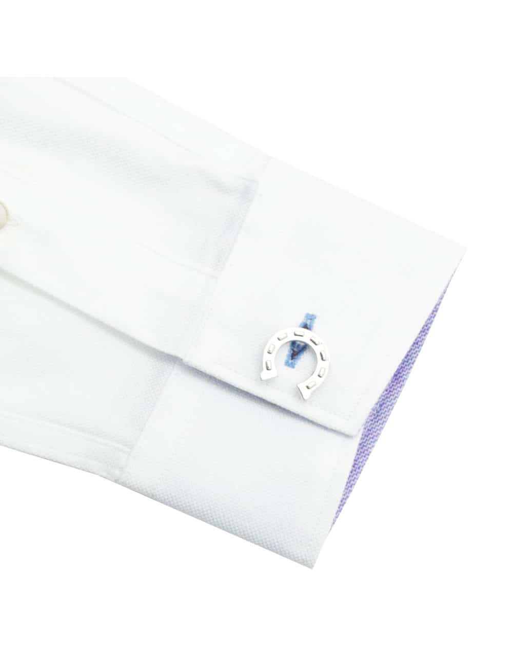 Tailored Fit Solid White Dobby 100% Premium Pima Cotton Double-Ply Long Sleeve Single Cuff Shirt TF1C1.16
