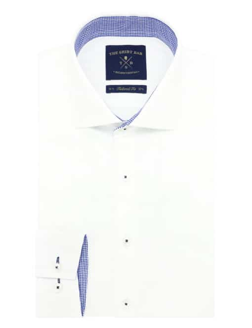 Tailored Fit Solid White Weave 100% Premium Pima Cotton Double-Ply Long Sleeve Single Cuff Shirt TF1C2.16