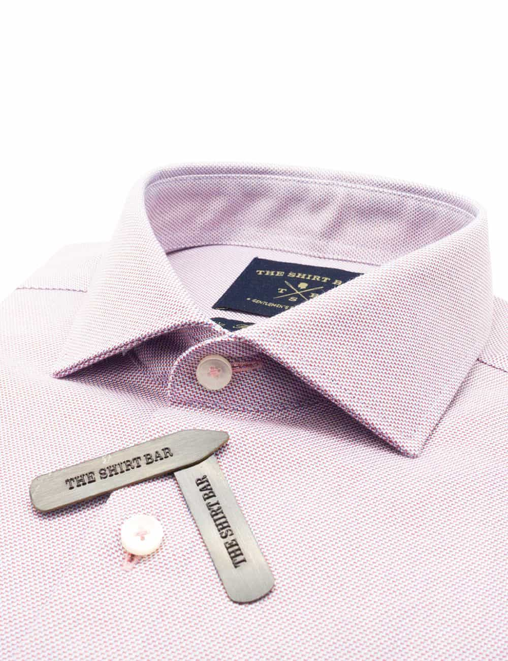 TF Red Dobby 100% Premium Pima Cotton Double-Ply Long Sleeve Single Cuff Shirt TF1C6.16