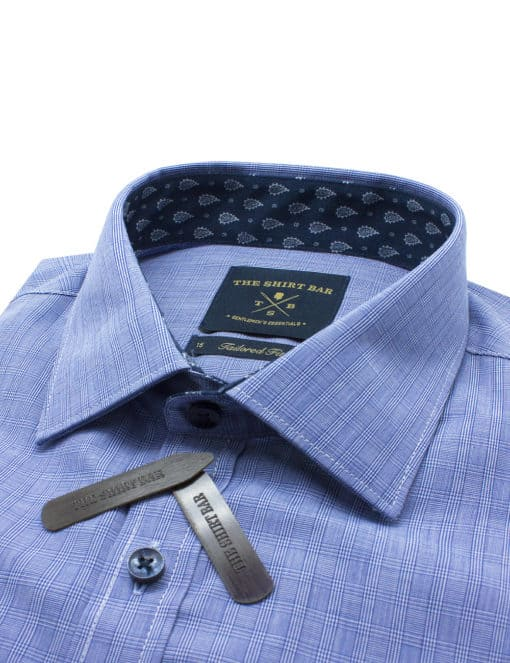 Tailored Fit Cotton Blend Navy Checks Spill Resist Long Sleeve Single Cuff Shirt TF2A11.11