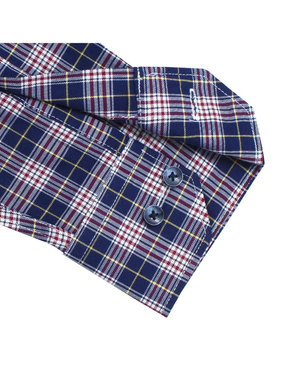 Tailored Fit 100% Premium Cotton Navy and Red Checks Long Sleeve Single Cuff Shirt TF2A5.11