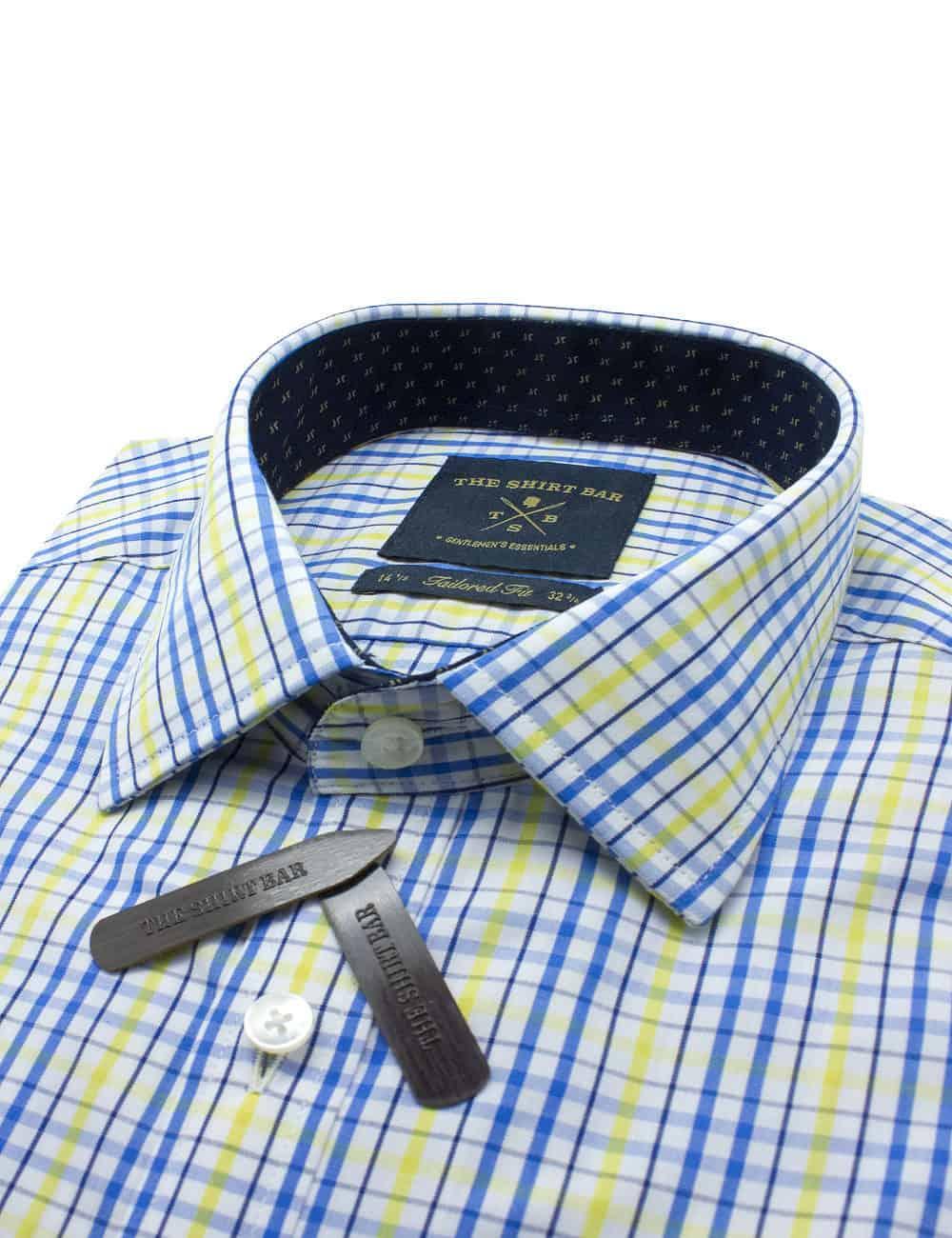TF Blue and Yellow Checks Eco-ol Bamboo Shirt TF2A6.7