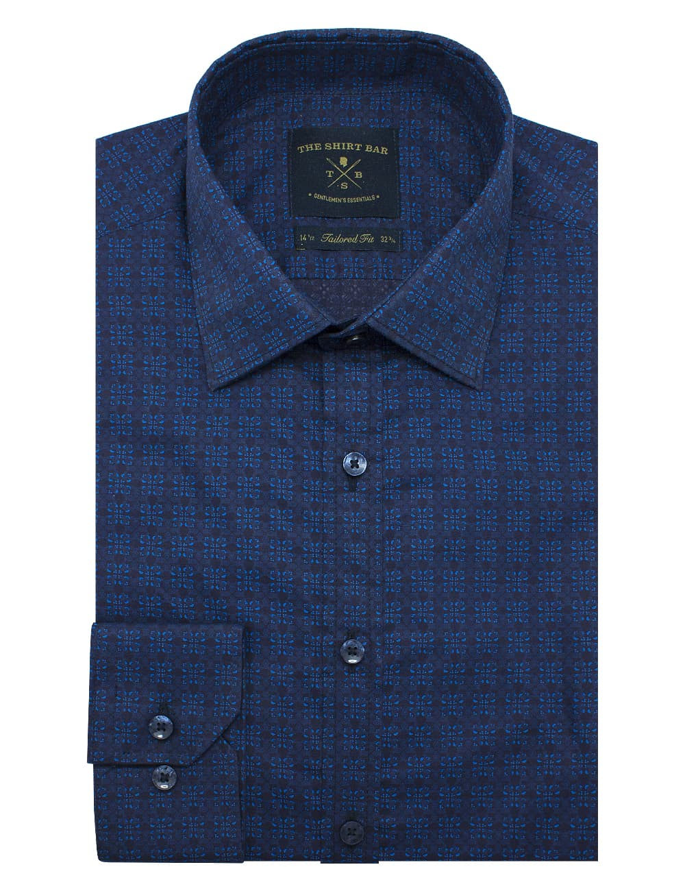 Tailored Fit 100% Premium Cotton Navy Print Long Sleeve Single Cuff Shirt TF2A8.11