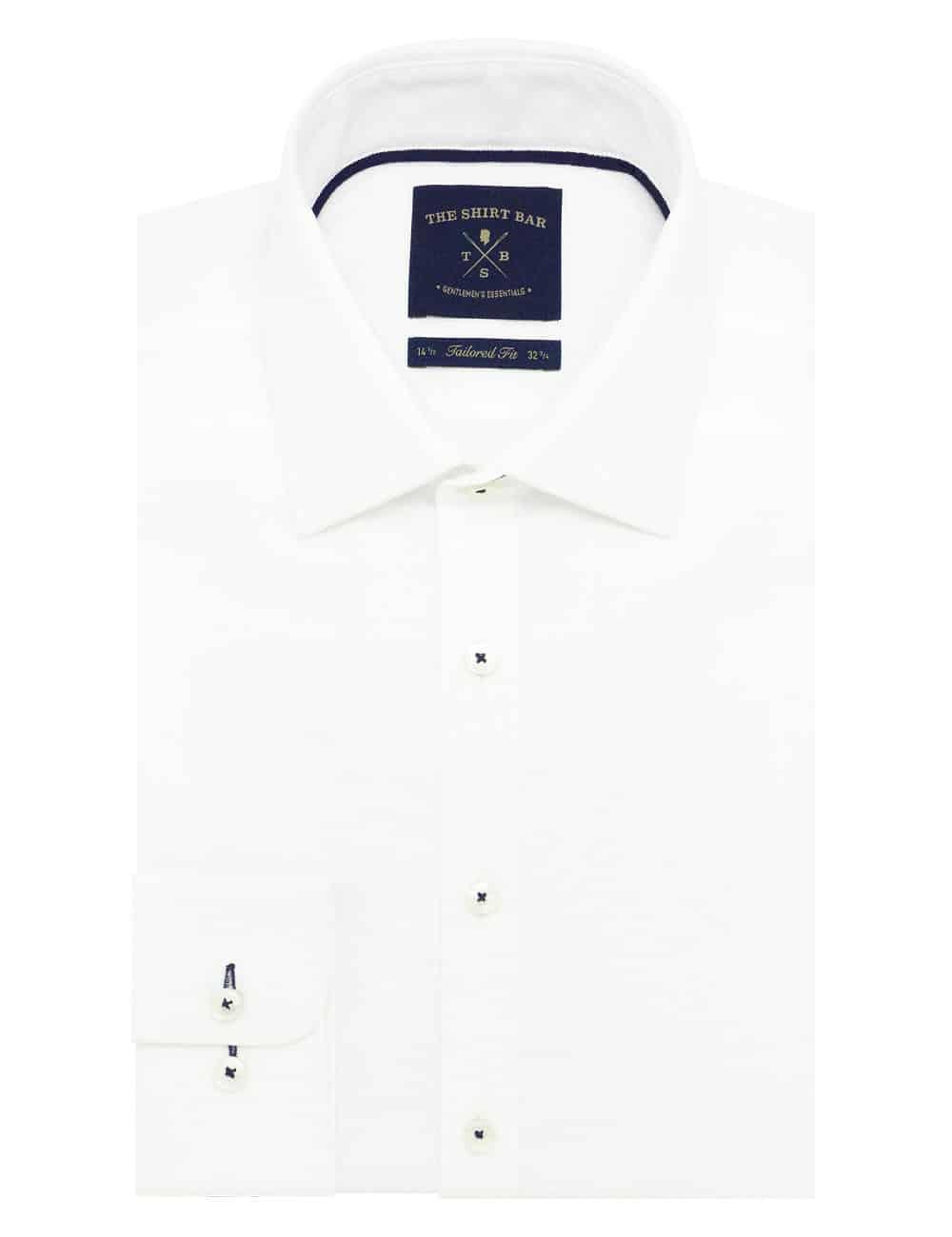 TF Solid White Dobby 2 Ply 100% Premium Pima Cotton Long Sleeve Single Cuff Shirt TF2B2.16