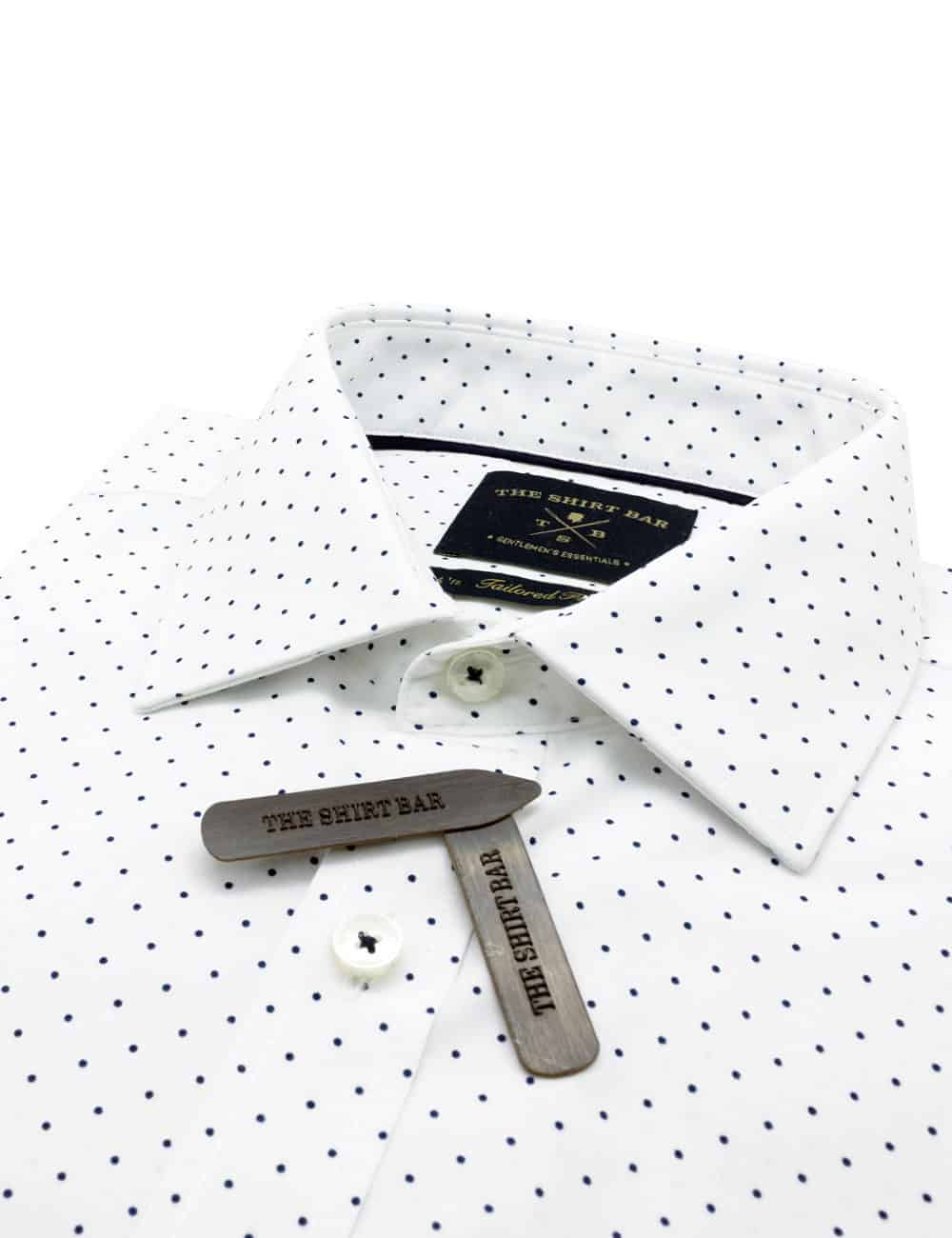 TF White with Navy Polka Dots Eco-ol Bamboo Blend Wrinkle Free Long Sleeve Single Cuff Shirt TF2B3.16