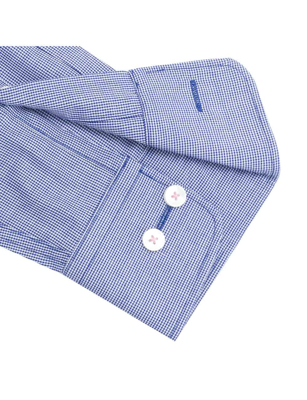 Tailored Fit Navy and White Micro Checks Eco-ol Bamboo Blend Wrinkle Free Long Sleeve Single Cuff Shirt TF2B4.16