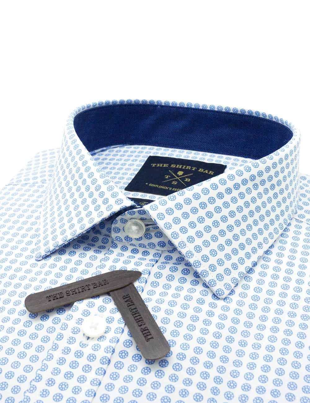 TF White with Blue Print 100% Premium Cotton Long Sleeve Single Cuff Shirt TF2F1.16