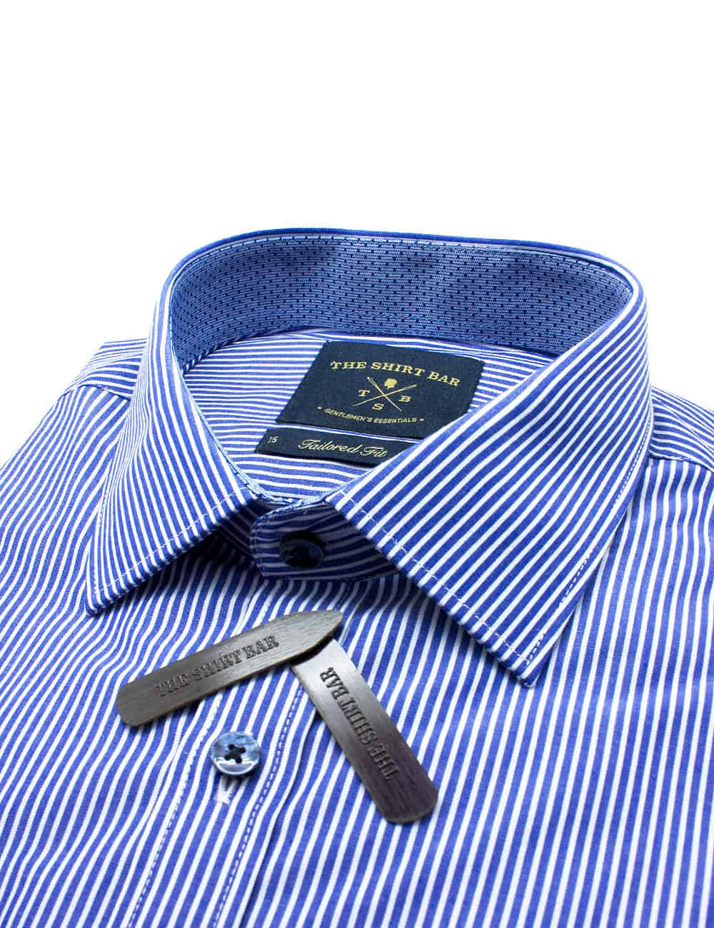 Tailored Fit Cotton Blend Navy with White Stripes Spill Resist Long Sleeve Single Cuff Shirt TF2F2.10