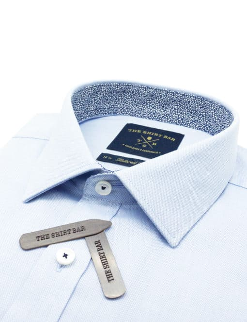 TF Solid Blue Weave Easy Iron 100% Premium Cotton Easy Iron Long Sleeve Single Cuff Shirt TF2F2.16