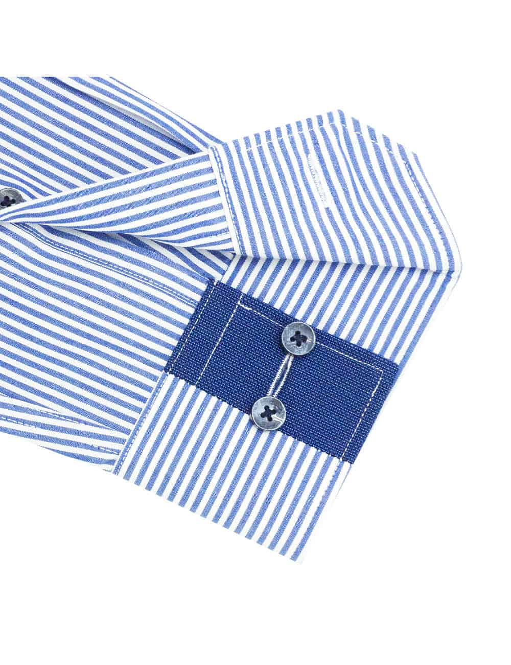 TF White and Blue Stripes Cotton Blend Spill Resist Long Sleeve Single Cuff Shirt TF2F5.16