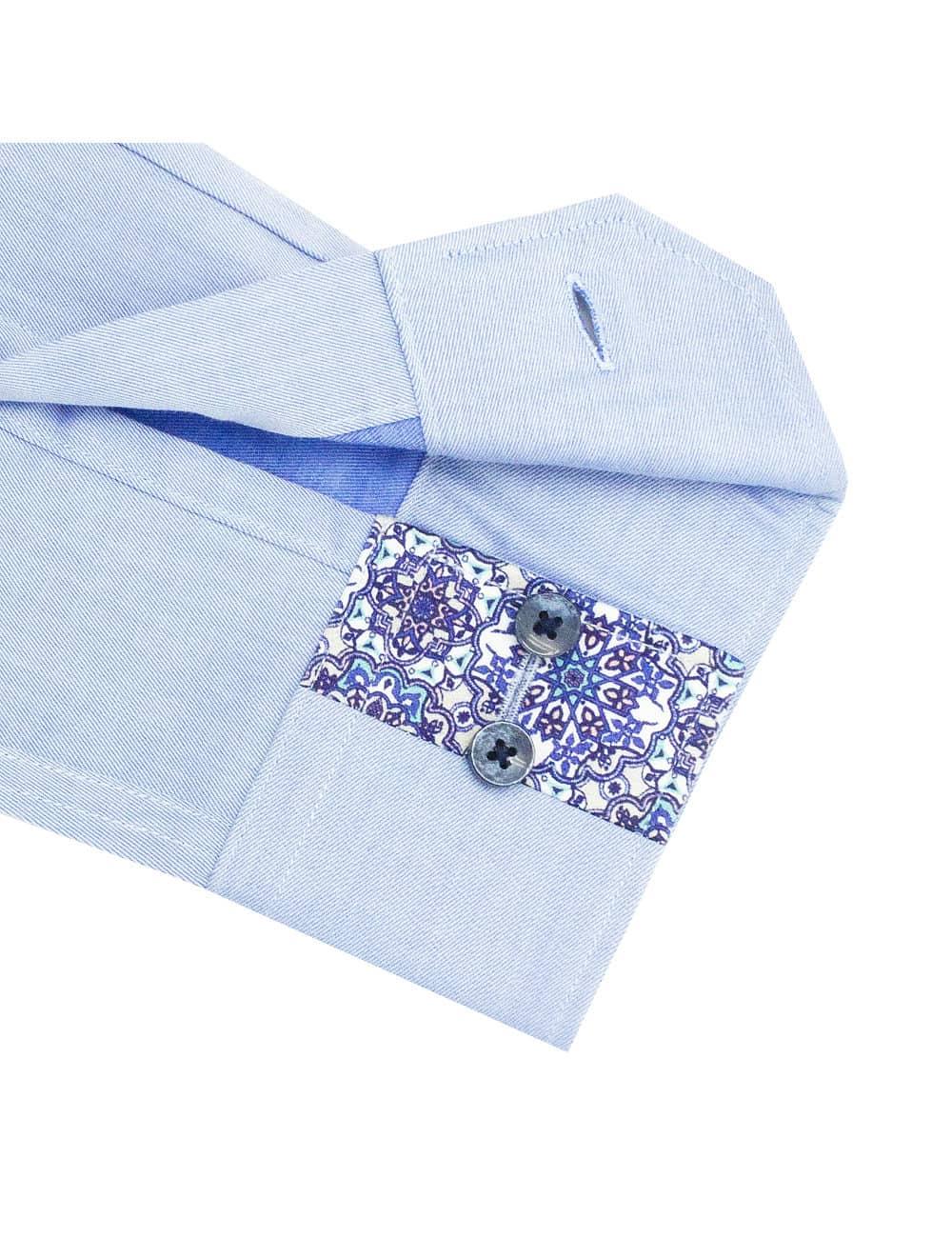 TF Solid Blue Twill 100% Premium Cotton Long Sleeve Single Cuff Shirt TF2F6.16