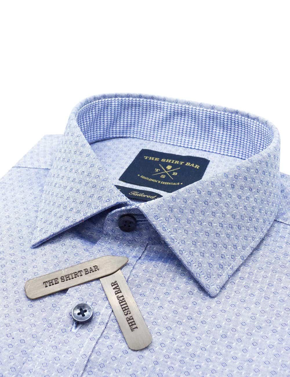 TF Blue with Diamond Pattern Cotton Blend Spill Resist Long Sleeve Single Cuff Shirt TF2F7.16