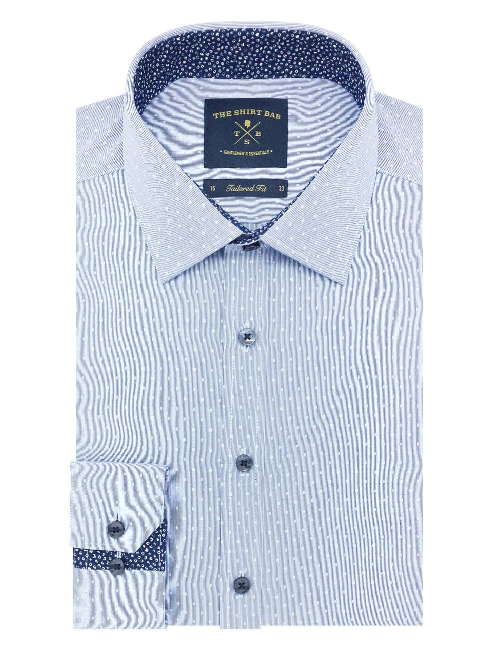 Tailored Fit Blue with White Square Cotton Blend Spill Resist Long Sleeve Single Cuff Shirt TF2F8.16
