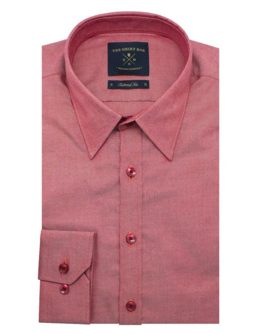 TF Solid Red Oxford Easy Iron Shirt TF33A3.10
