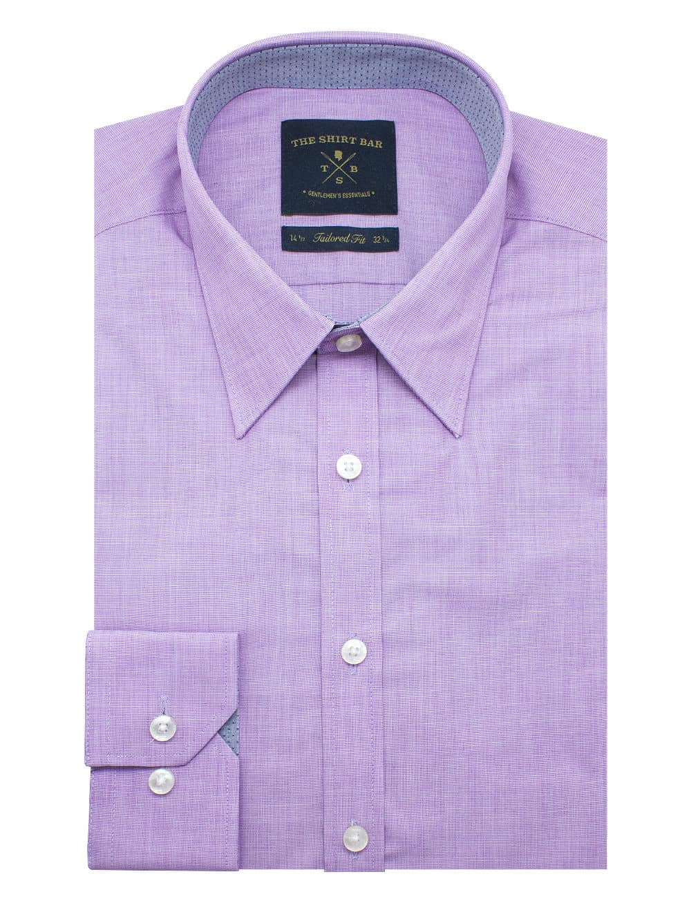 Tailored Fit Cotton Blend Lilac Fil A Fil Spill Resist Long Sleeve Single Cuff Shirt TF33A5.10