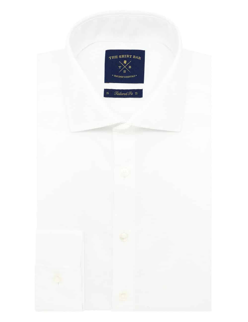 TF Solid White Poplin 100% Premium Cotton Wrinkle Resistant Double-Ply Long Sleeve Double Cuff Shirt TF3D2.16