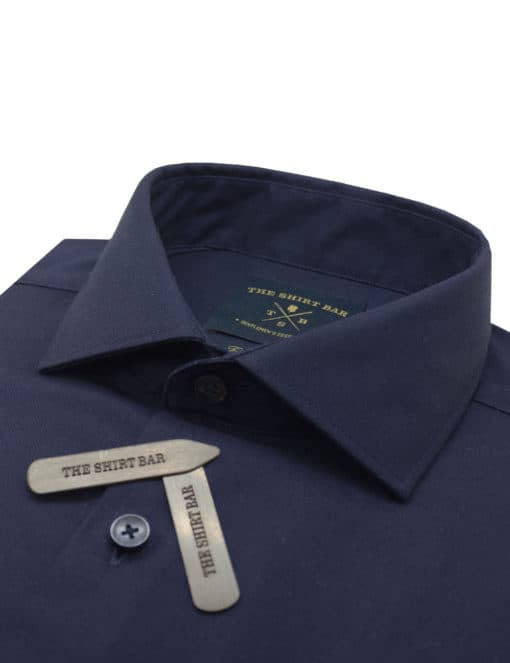 TF Solid Navy 100% Premium Cotton Easy Iron Long Sleeve Double Cuff Shirt TF3D3.16