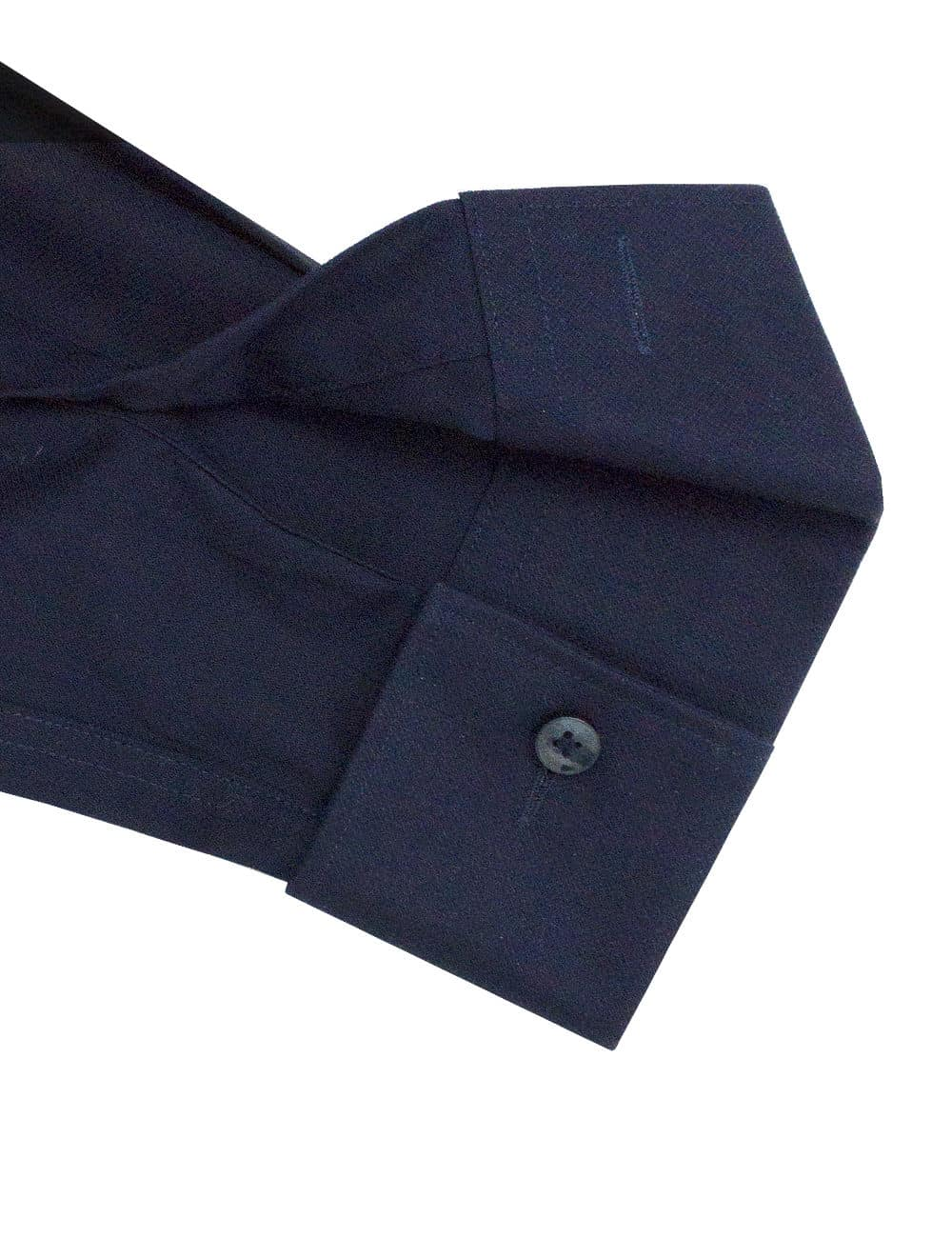 Tailored Fit Solid Navy 100% Premium Cotton Easy Iron Long Sleeve Double Cuff Shirt TF3D3.16