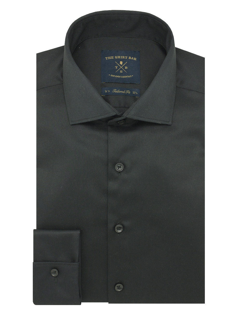 TF Solid Black Twill 100% Premium Cotton Easy Iron Double-Ply Long Sleeve Double Cuff Shirt TF3D4.16