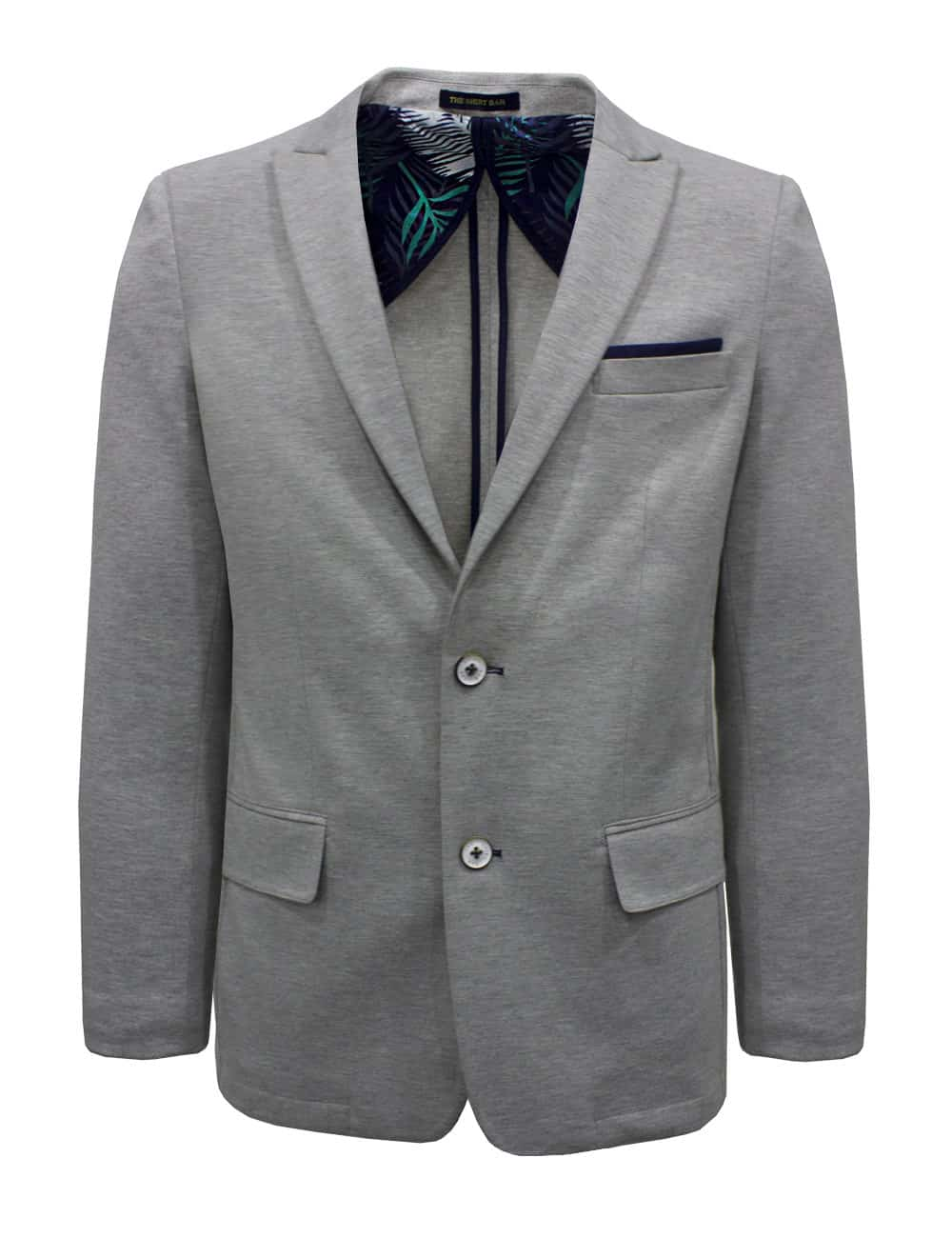 Tailored Fit Light Grey Knitted Single Breasted Blazer B1B2.3