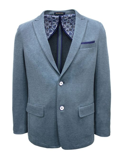 TF Pacific Blue Knitted Single Breasted Blazer B1B3.3