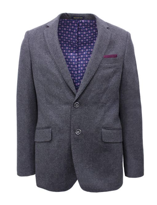 Tailored Fit Grey Herringbone Single Breasted Blazer B2B1.1