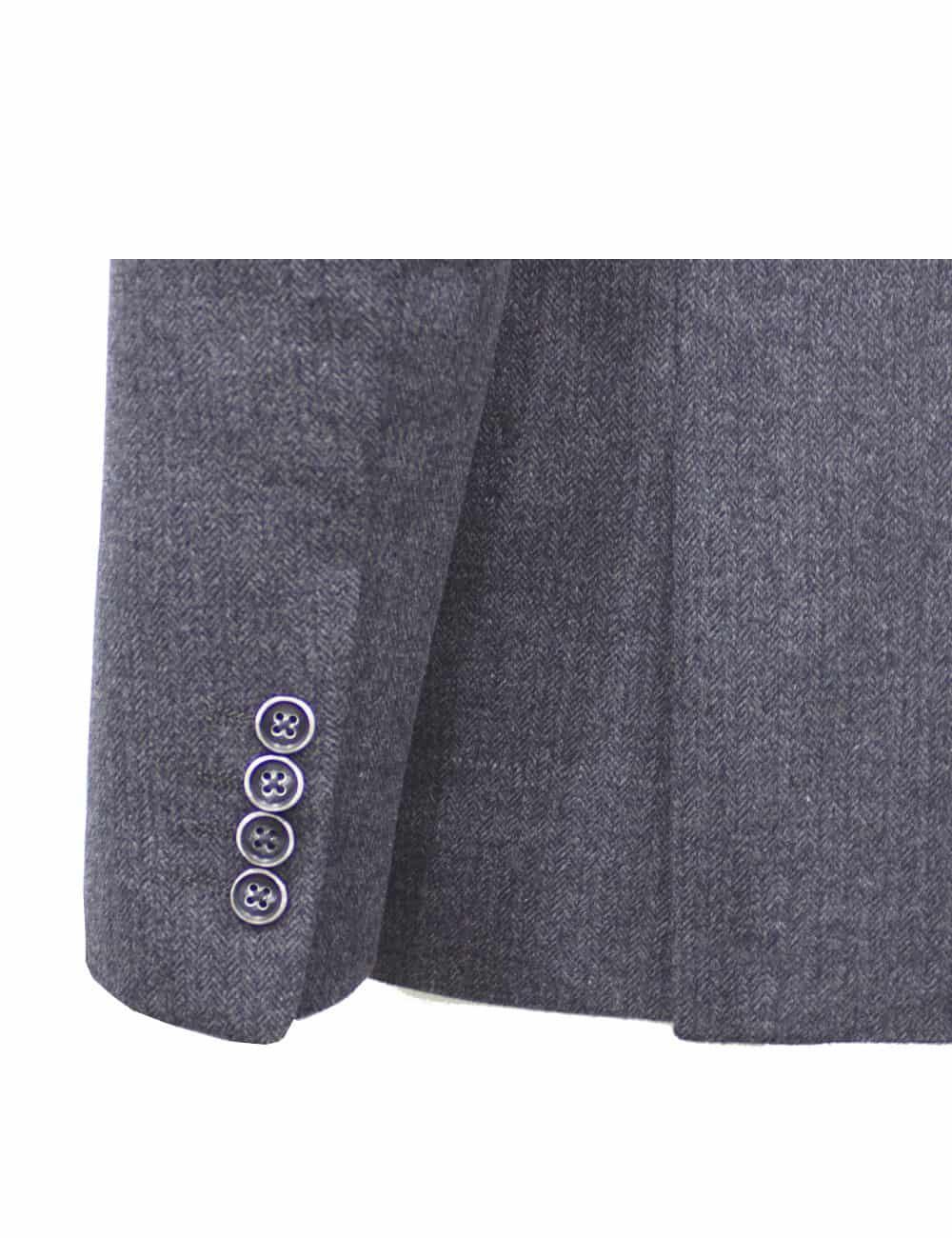 Slim Fit Grey Herringbone Blazer - B2B1.1
