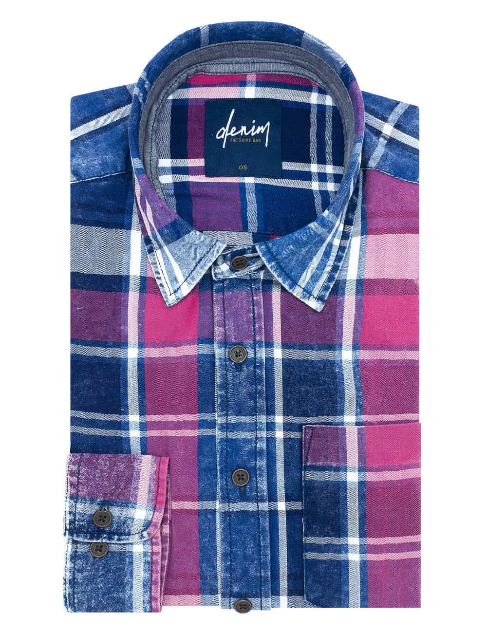 RF Navy & Red Checks Denim Collection 100% Cotton Long Sleeve Single Cuff Shirt RF33B1.8