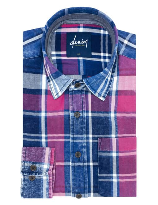 Relaxed Fit Navy & Red Checks Denim Collection 100% Cotton Long Sleeve Single Cuff Shirt RF33B1.8