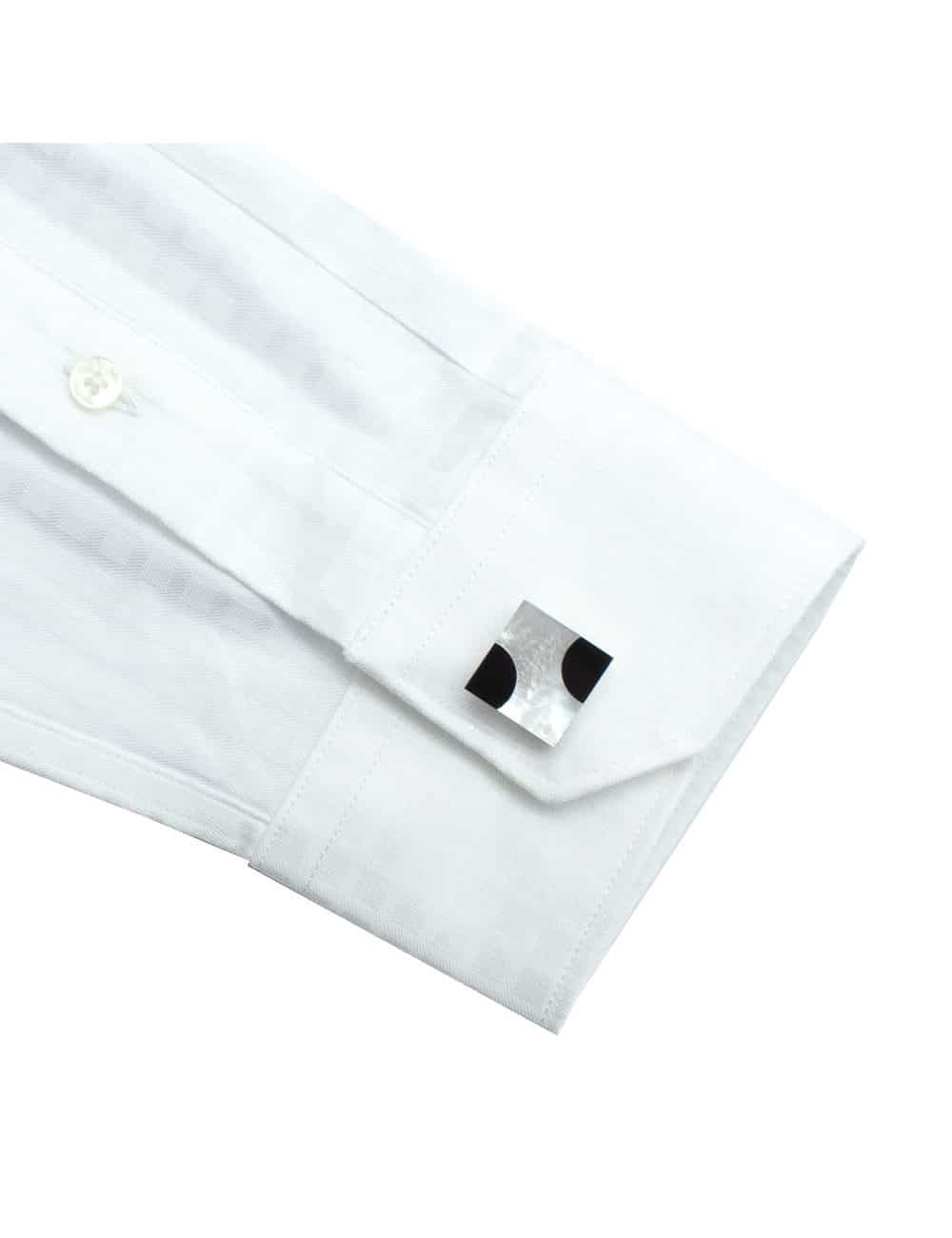 Classic Fit 100% Premium Pima Cotton Solid White Checks Double-Ply Long Sleeve Shirt CF2A20.17