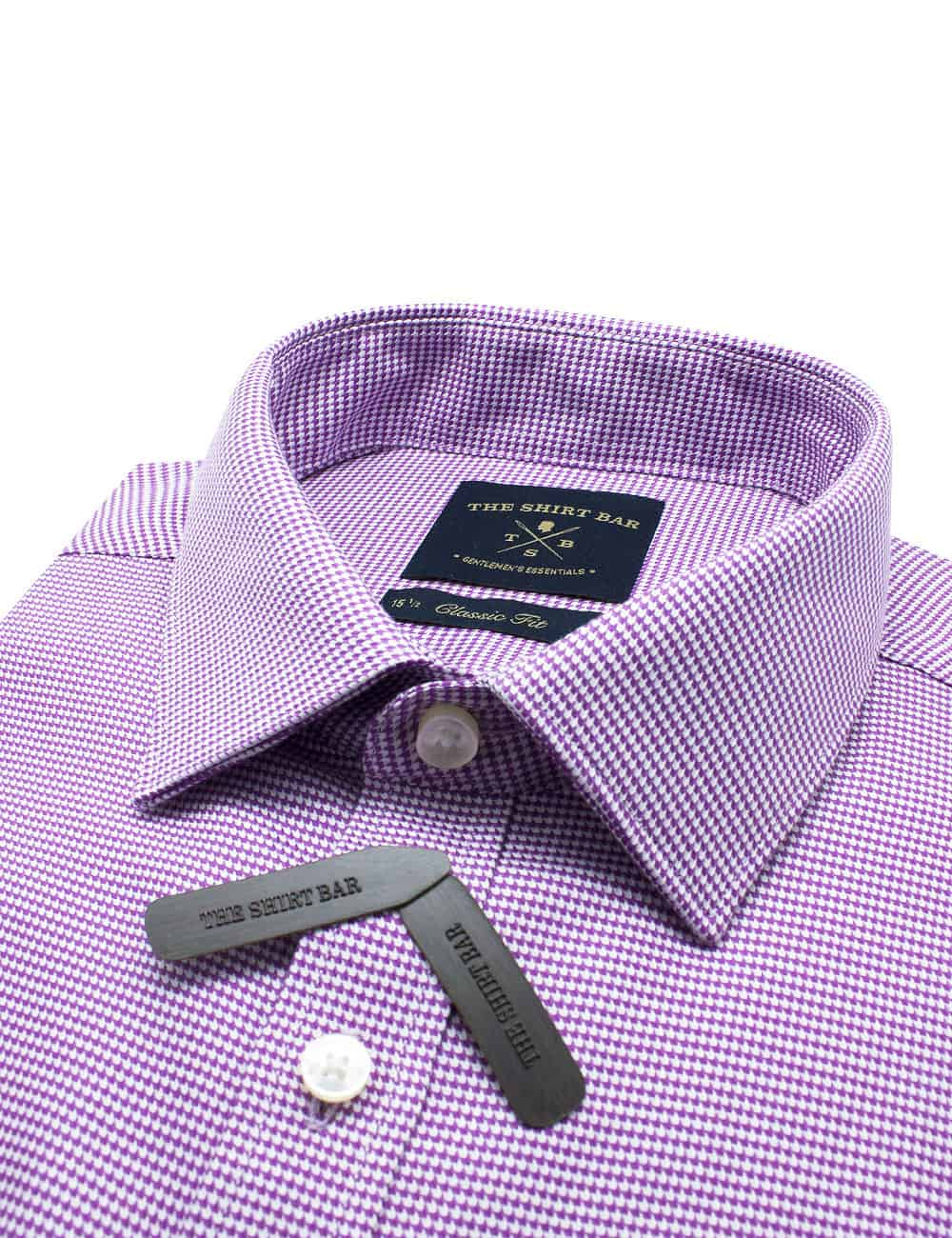 CF Purple Houndstooth 2 Ply Pima Cotton Shirt CF2A22.17