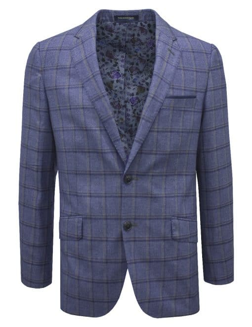 Slim Fit Dark Blue Checks Single Breasted Blazer - S2B4.4