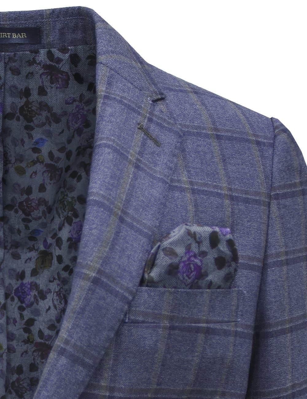Slim Fit Dark Blue Checks Single Breasted Blazer - S2B4.4