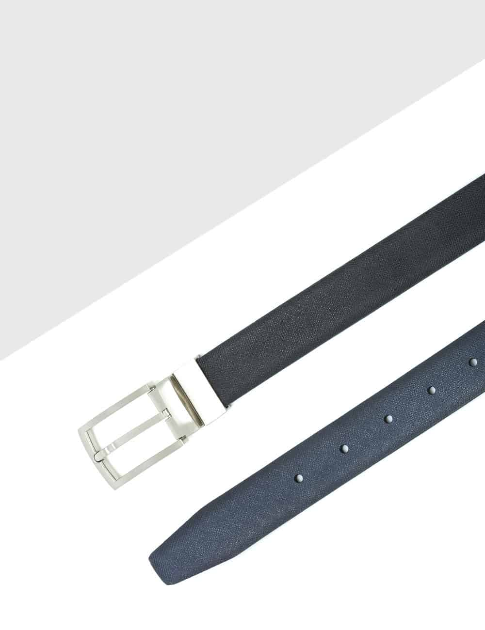 Black / Navy Textured Reversible Leather Belt LBR3.8