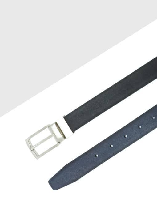 Black / Navy Textured Reversible Leather Belt LBR3.8
