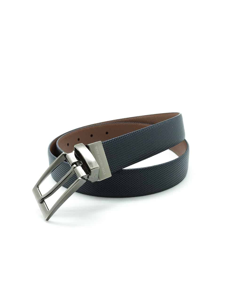 Navy / Brown Textured Reversible Leather Belt LBR4.8