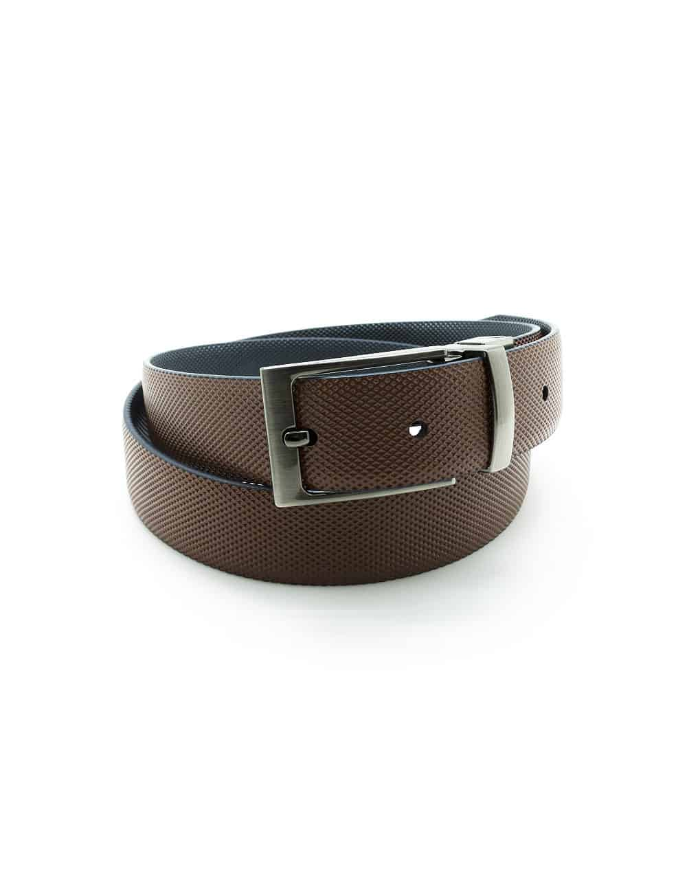 Navy / Brown Textured Reversible Leather Belt LBR4.8