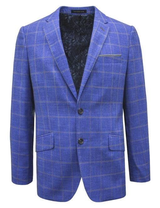 Slim Fit Light Blue Checks Single Breasted Blazer - S2B5.4