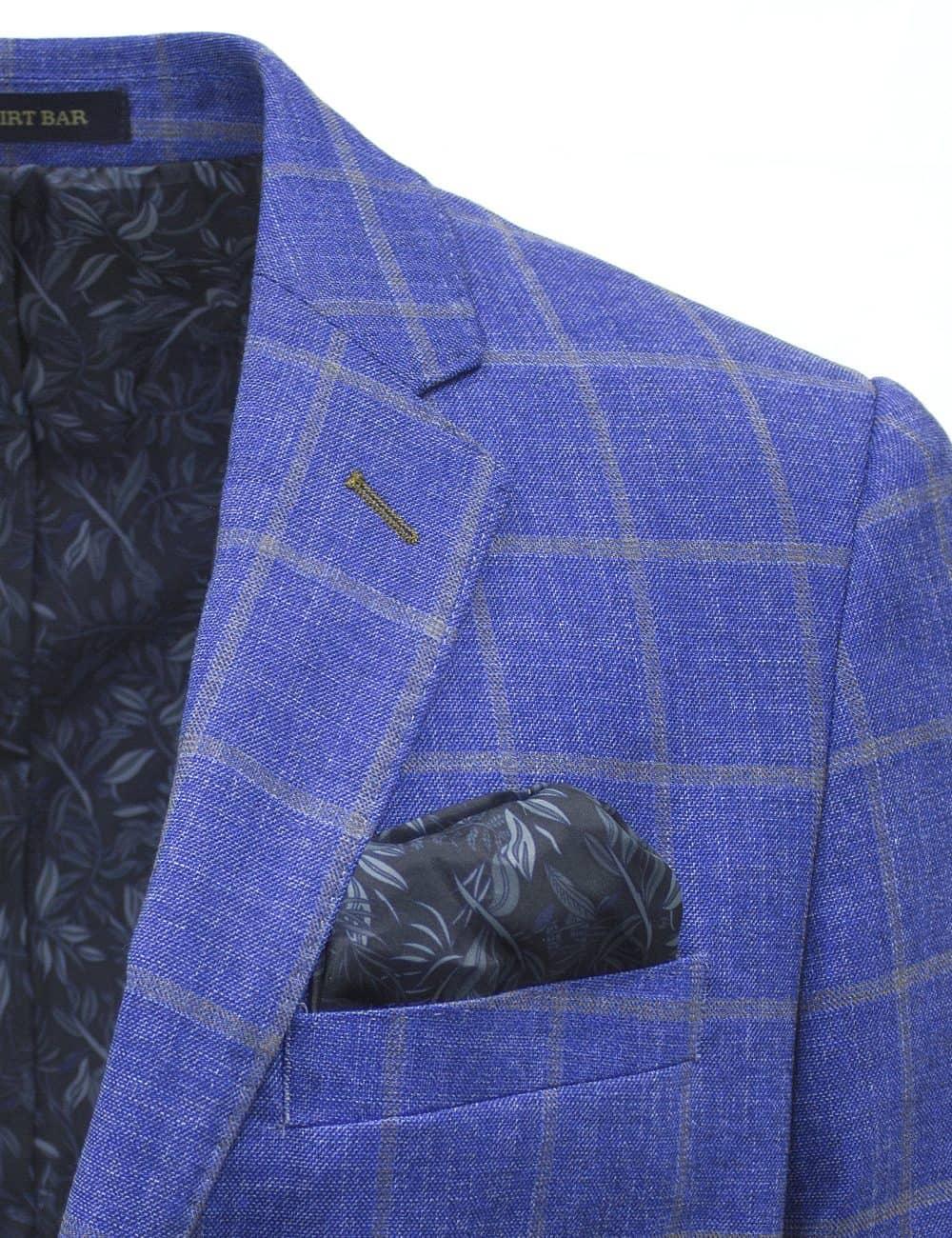 Slim Fit Light Blue Checks Single Breasted Blazer - S2B5.4