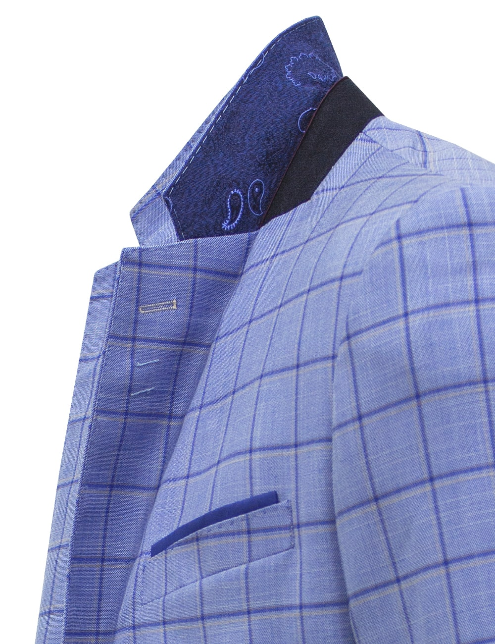 Slim / Tailored Fit Light Blue Checks Single Breasted Suit Set - SS9.4