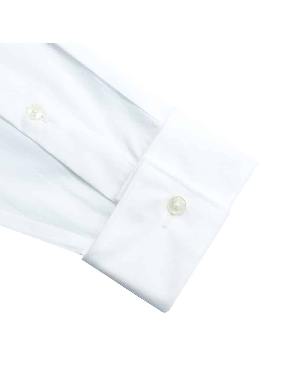 Modern Fit 100% Premium Cotton Changeable Mandarin Collar Solid White Long Sleeve Double Cuff Tuxedo Shirt with Pleated Front Bib and Button Studs, Long Lasting White Finishing MF48DT2.NOS