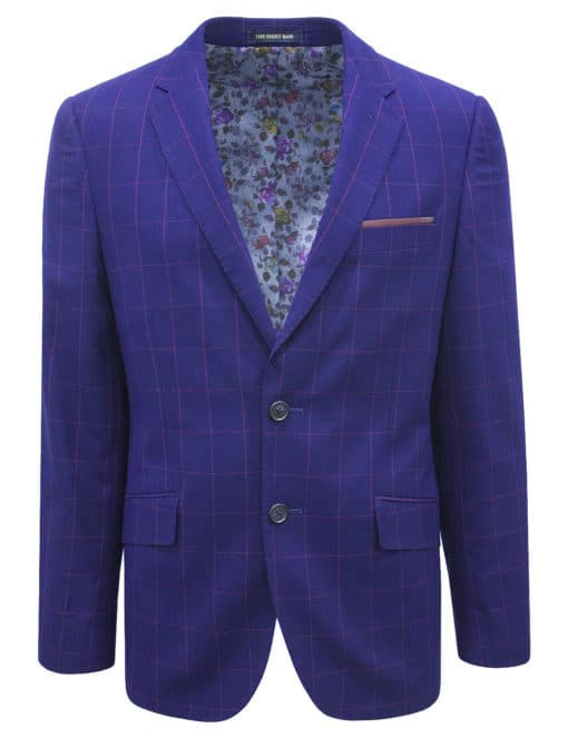 Slim Fit Navy Checks Blazer - S2B4.3