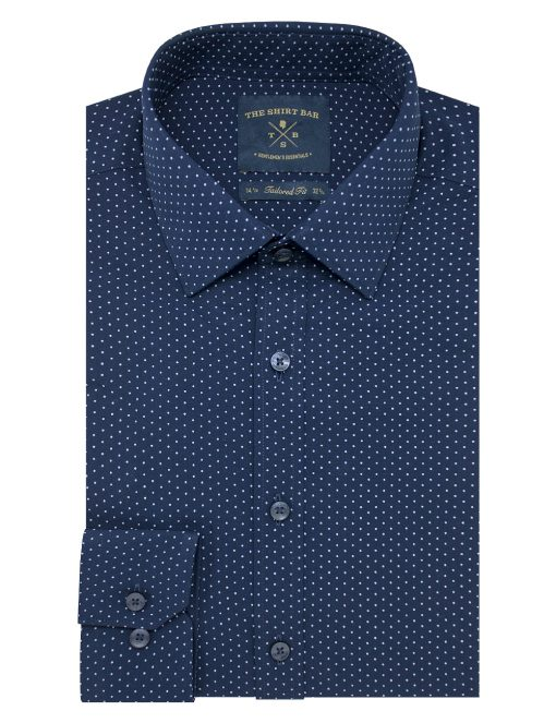 Navy with Blue Polka Dots Eco-ol Bamboo Long Sleeve Shirt - TF2A17.17