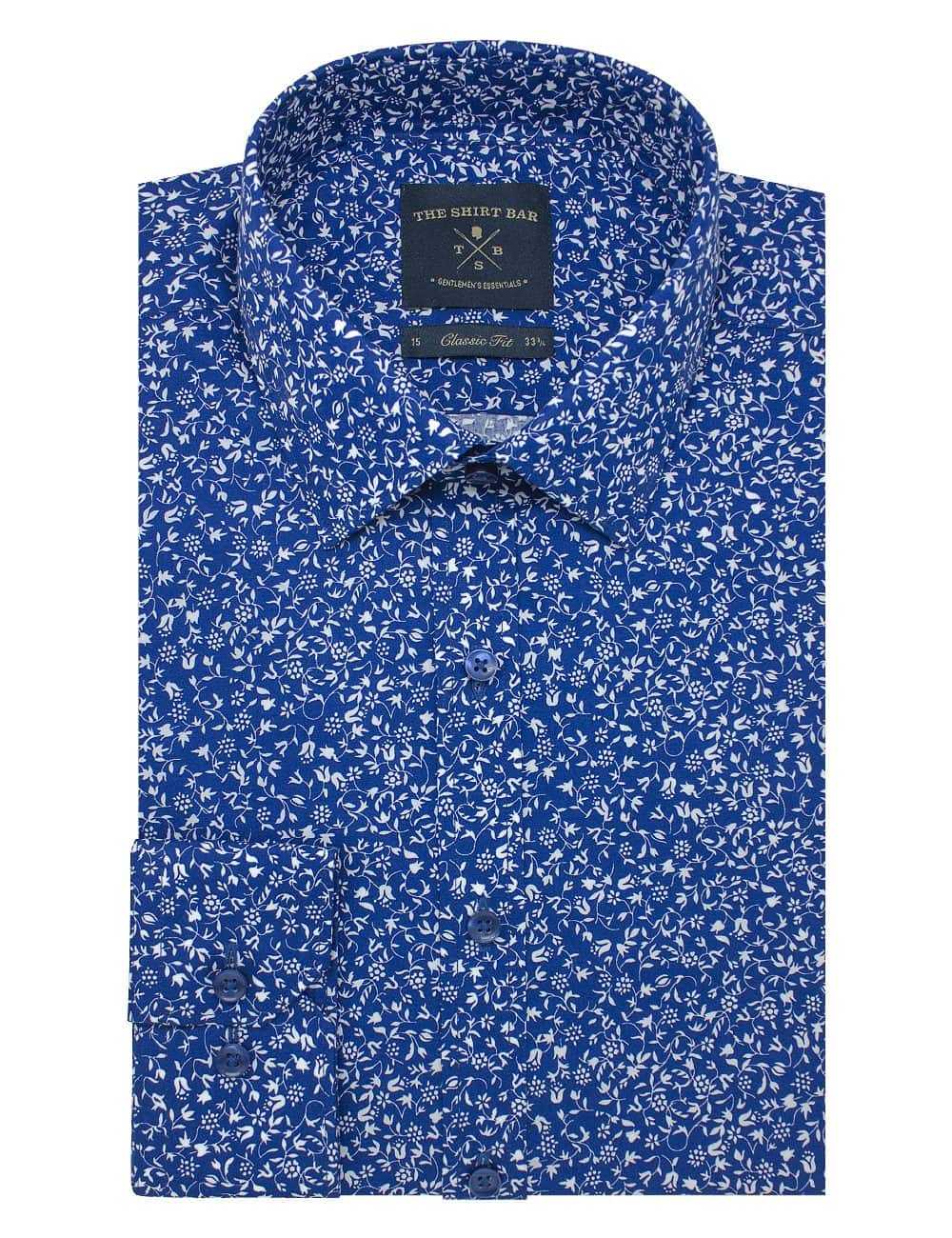 Navy with White Floral Print Modern / Classic Fit Long Sleeve Shirt – CF2A23.17