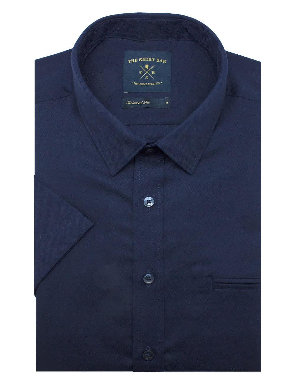 Relaxed Fit 100% Premium Cotton Solid Navy Easy Iron Short Sleeve Shirt RF9SNB2.17
