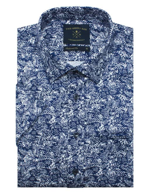 Relaxed Fit 100% Premium Cotton Navy with White Leaf Print Short Sleeve Shirt RF9SNB4.17