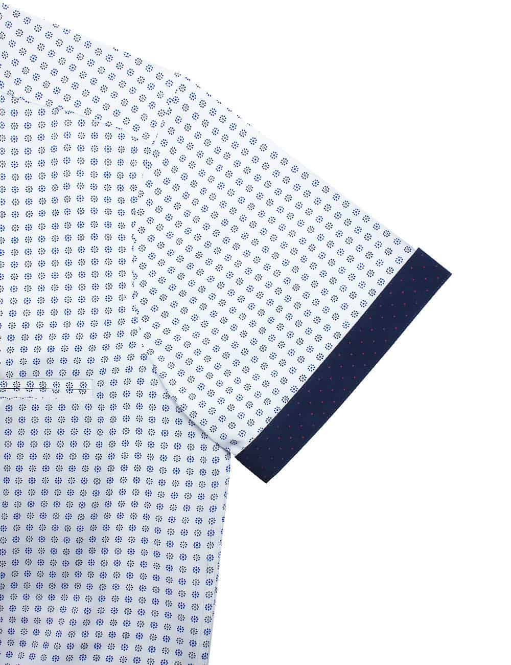 Relaxed Fit White with Blue Print Eco-ol Bamboo Blend Wrinkle Free Short Sleeve Shirt RF9SNB5.17