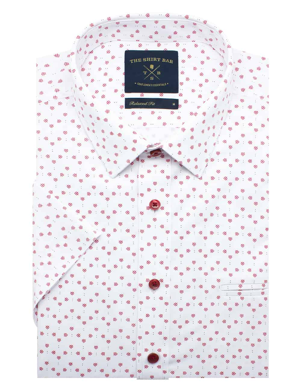 Relaxed Fit White with Red Print Eco-ol Bamboo Blend Wrinkle Free Short Sleeve Shirt RF9SNB6.17